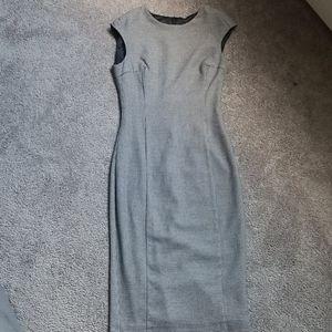 ZARA Dress Grey Black Houndstooth Sheath Midi